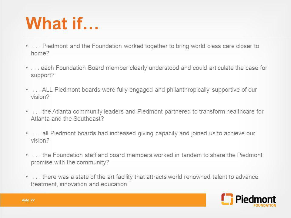 What if… . . . Piedmont and the Foundation worked together to bring world class care closer to home