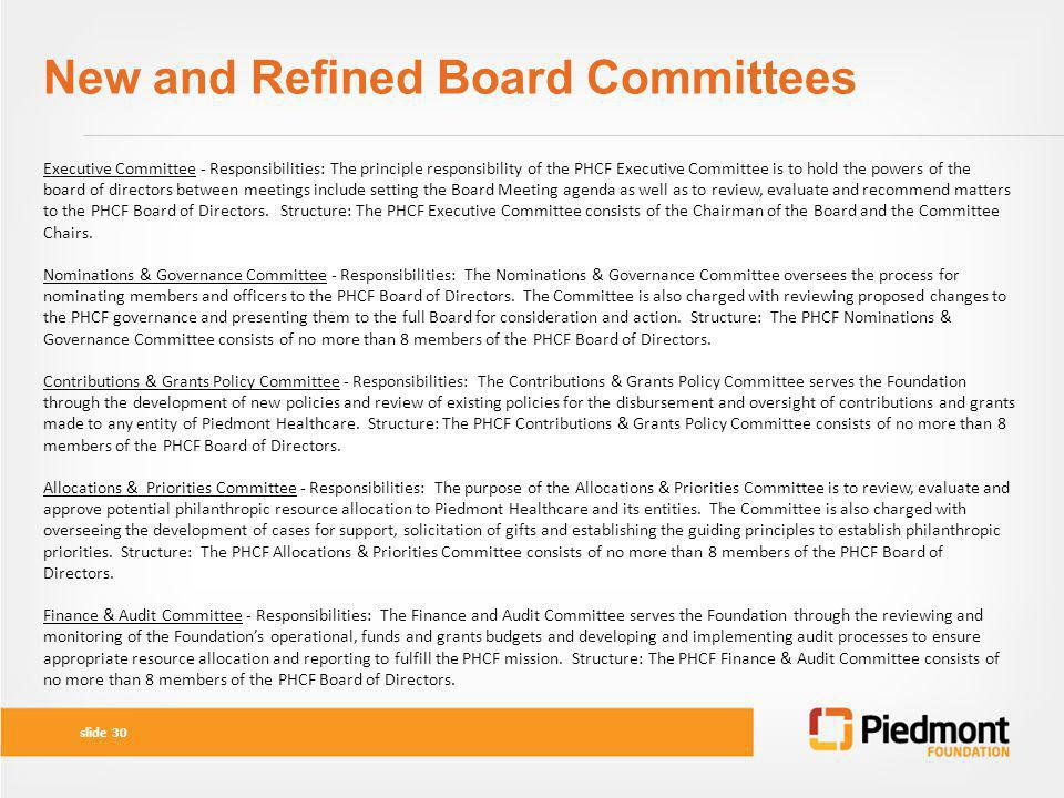 New and Refined Board Committees