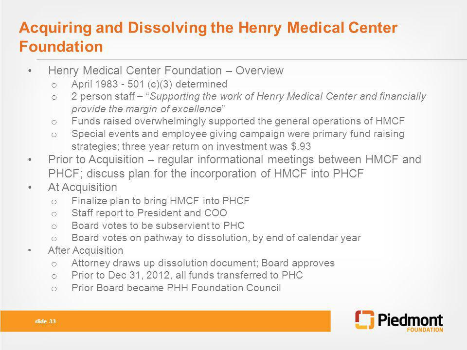 Acquiring and Dissolving the Henry Medical Center Foundation