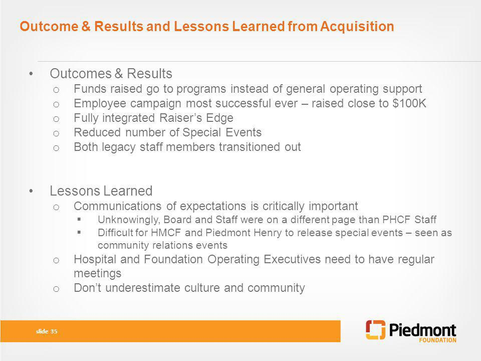 Outcome & Results and Lessons Learned from Acquisition