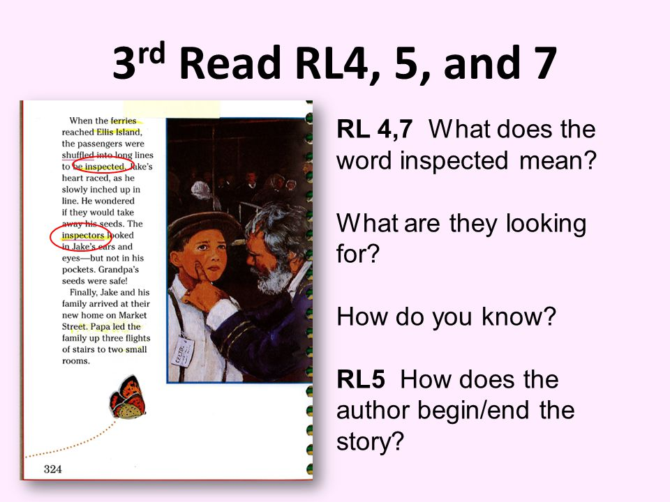 3rd Read RL4, 5, and 7 RL 4,7 What does the word inspected mean
