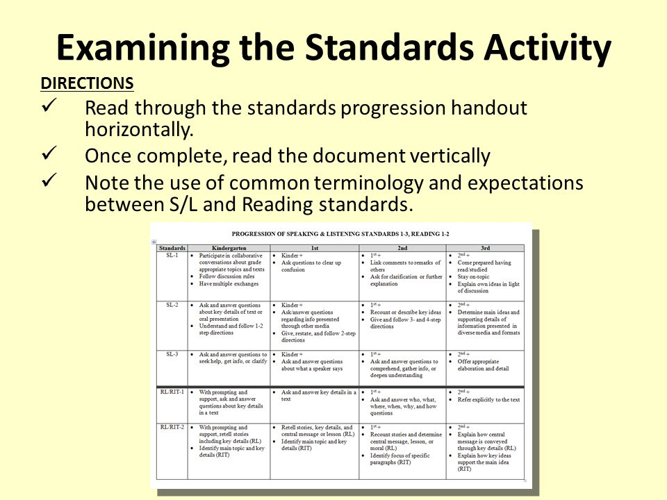 Examining the Standards Activity