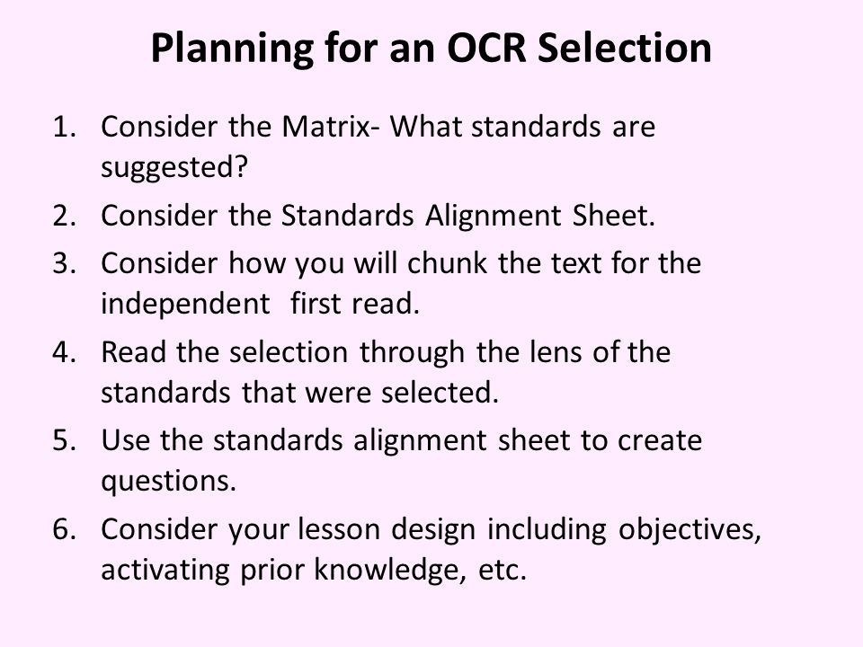 Planning for an OCR Selection
