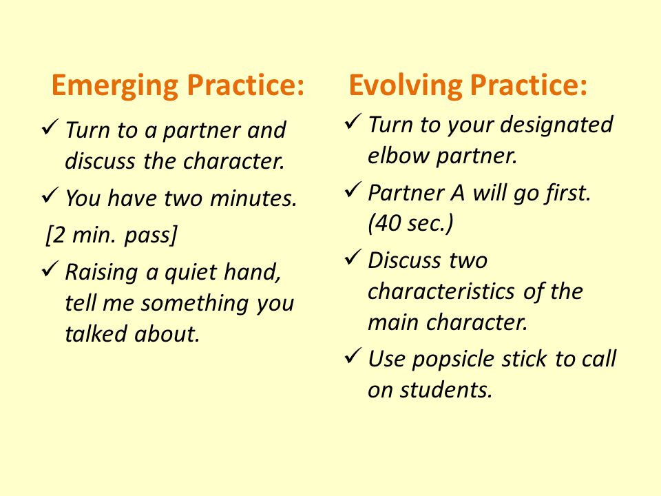 Emerging Practice: Evolving Practice: