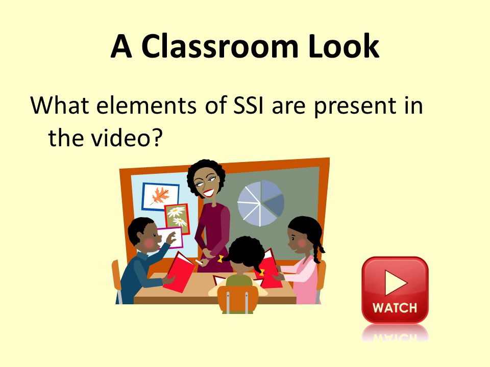 A Classroom Look What elements of SSI are present in the video