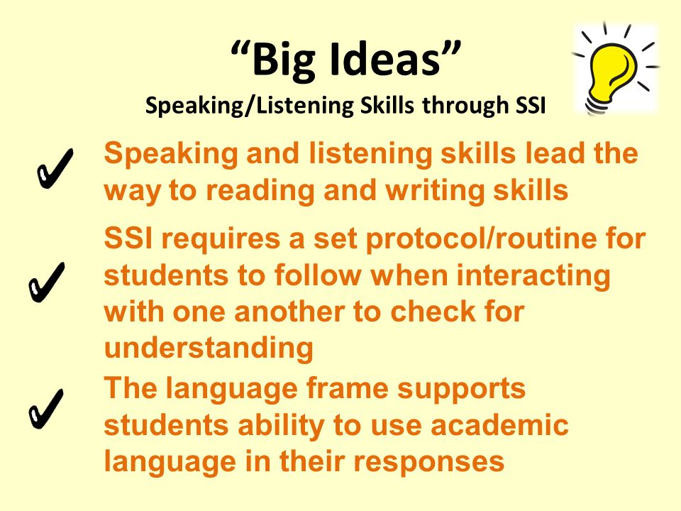 Big Ideas Speaking/Listening Skills through SSI