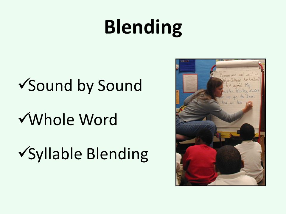 Blending Sound by Sound Whole Word Syllable Blending Whole Word: