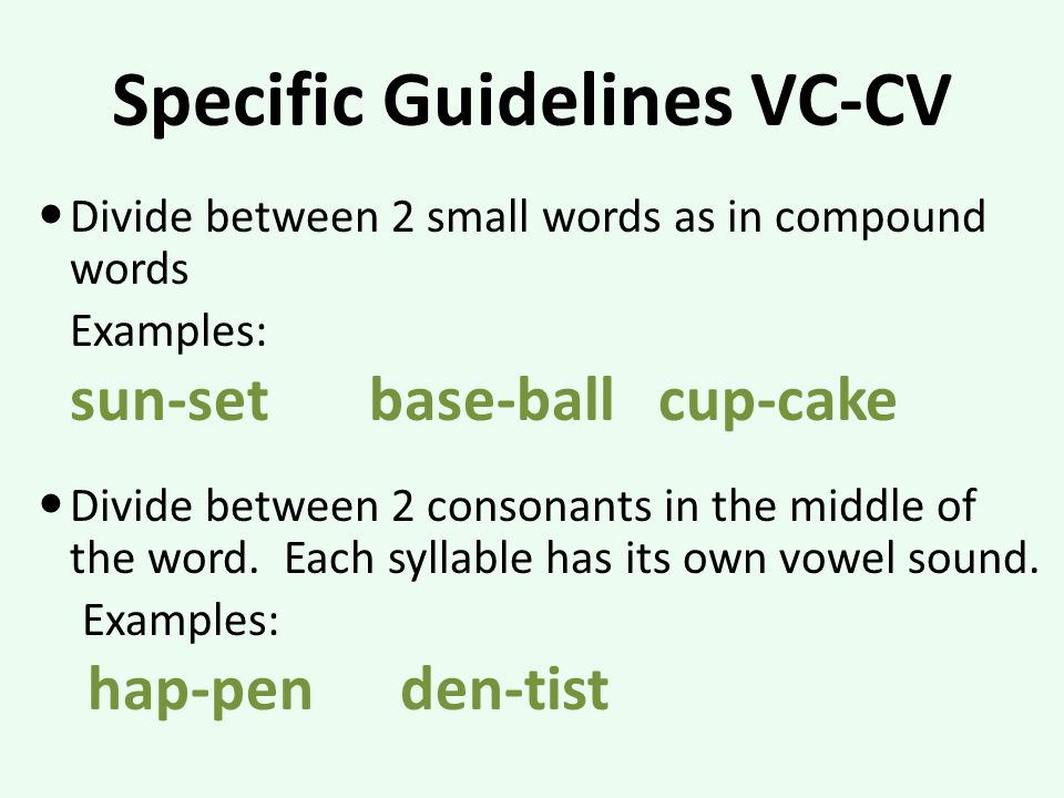 Specific Guidelines VC-CV