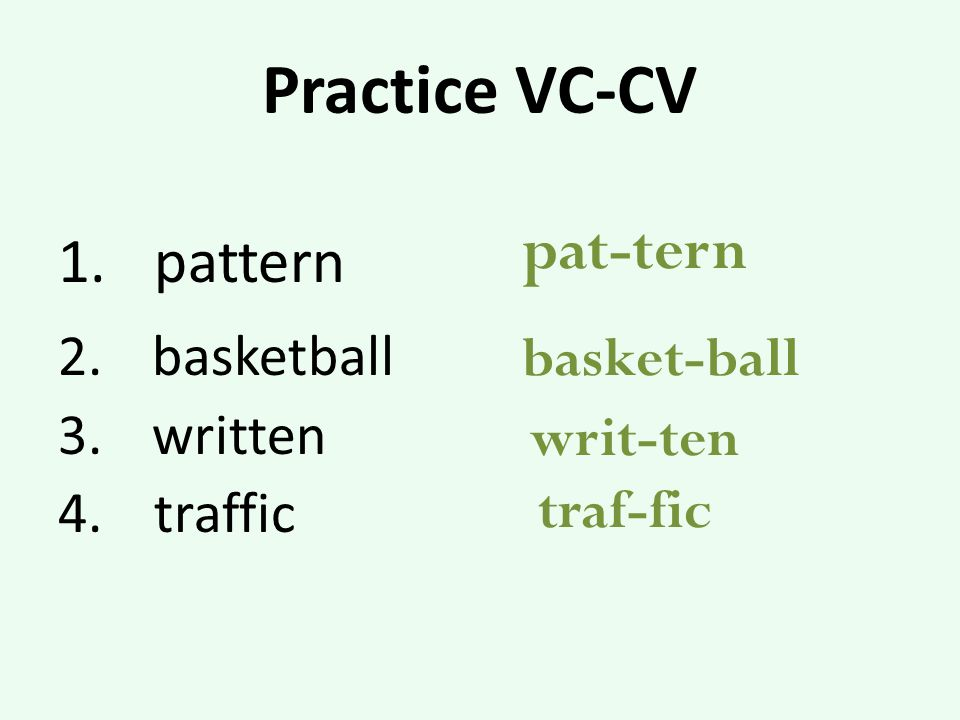 Practice VC-CV pattern pat-tern basketball written traffic basket-ball