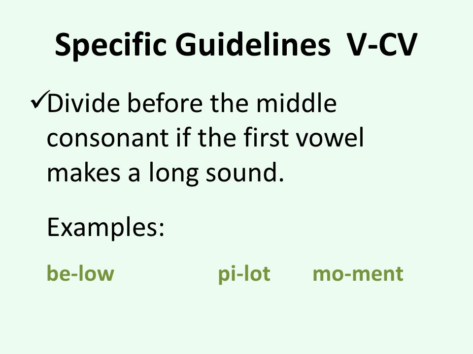 Specific Guidelines V-CV