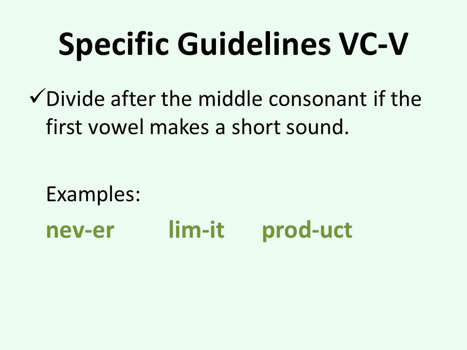 Specific Guidelines VC-V