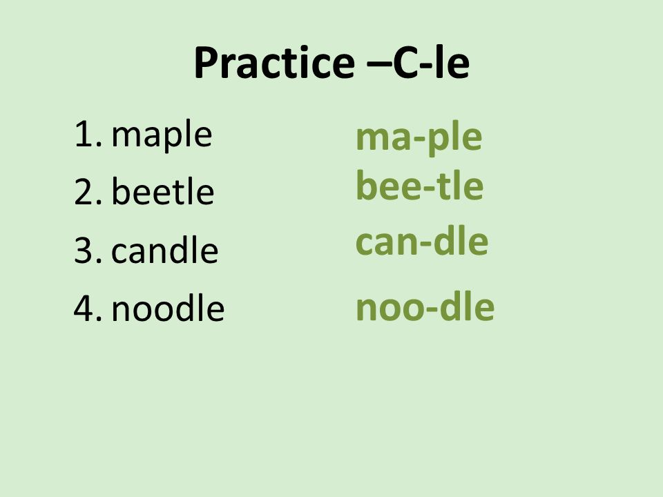 Practice –C-le ma-ple bee-tle can-dle noo-dle maple beetle candle