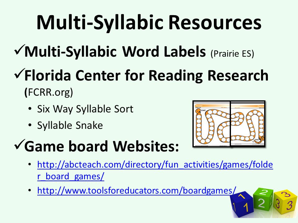 Multi-Syllabic Resources