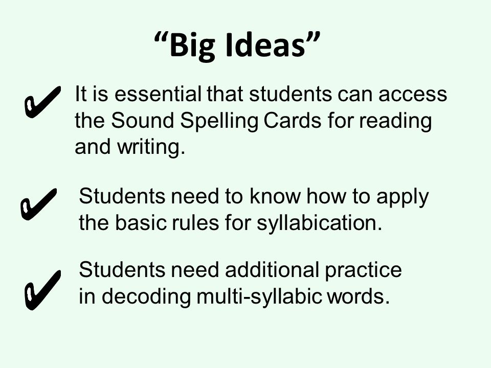 Big Ideas It is essential that students can access the Sound Spelling Cards for reading and writing.
