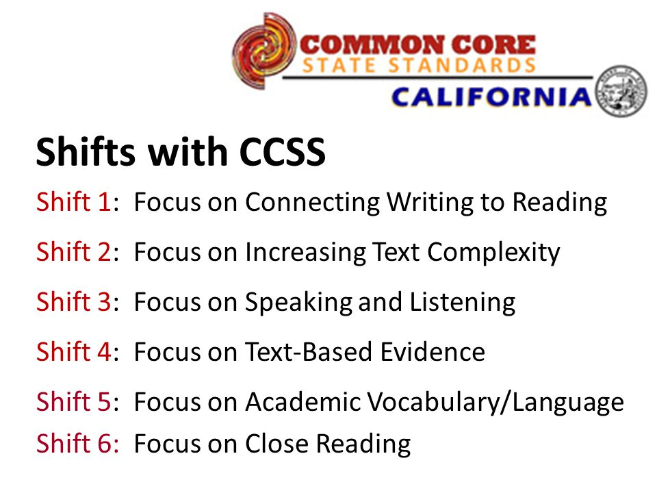 Shifts with CCSS