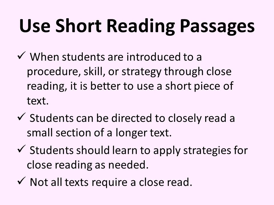 Use Short Reading Passages