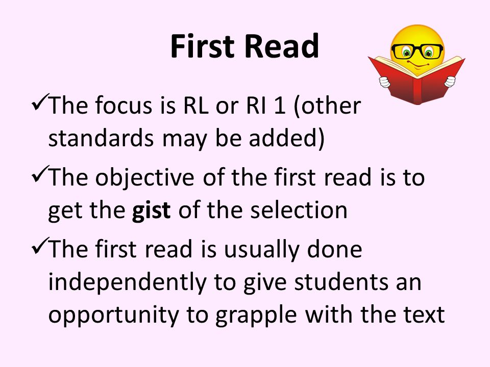 First Read The focus is RL or RI 1 (other standards may be added)