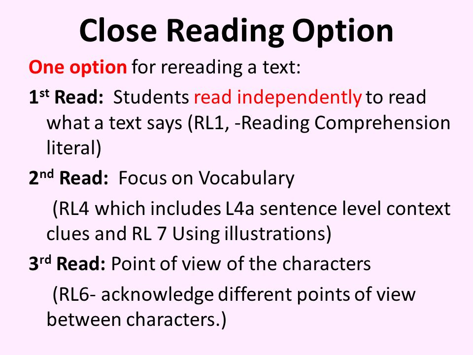 Close Reading Option