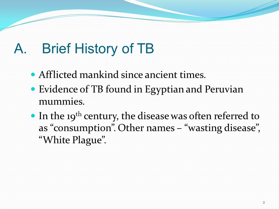 A. Brief History of TB Afflicted mankind since ancient times.