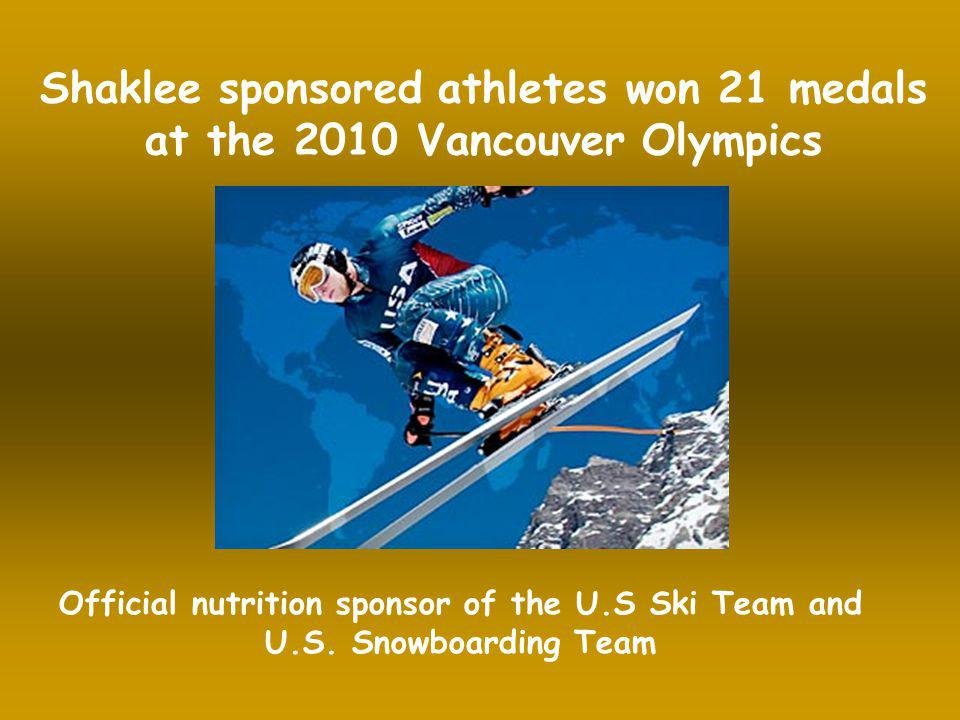 Shaklee sponsored athletes won 21 medals at the 2010 Vancouver Olympics