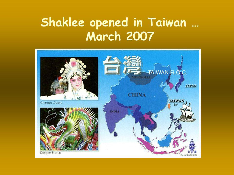 Shaklee opened in Taiwan …
