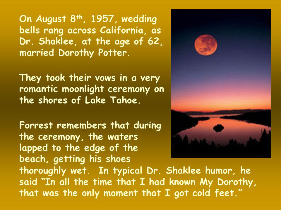 On August 8th, 1957, wedding bells rang across California, as Dr