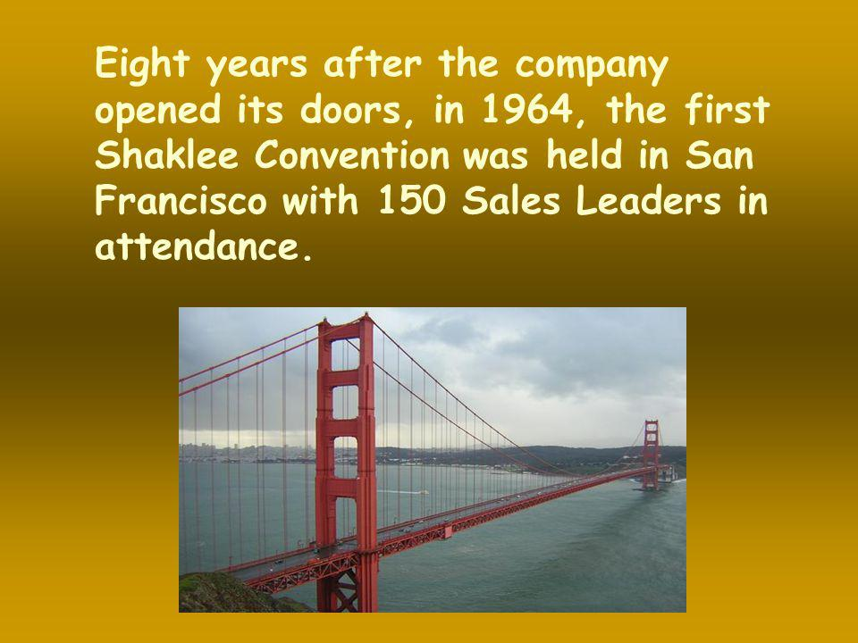 Eight years after the company opened its doors, in 1964, the first Shaklee Convention was held in San Francisco with 150 Sales Leaders in attendance.