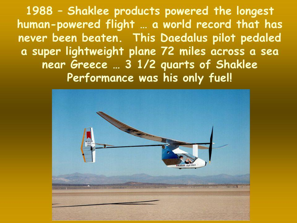 1988 – Shaklee products powered the longest human-powered flight … a world record that has never been beaten.