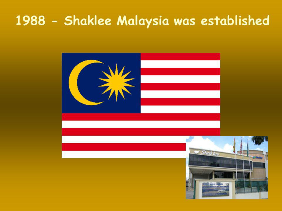 1988 - Shaklee Malaysia was established