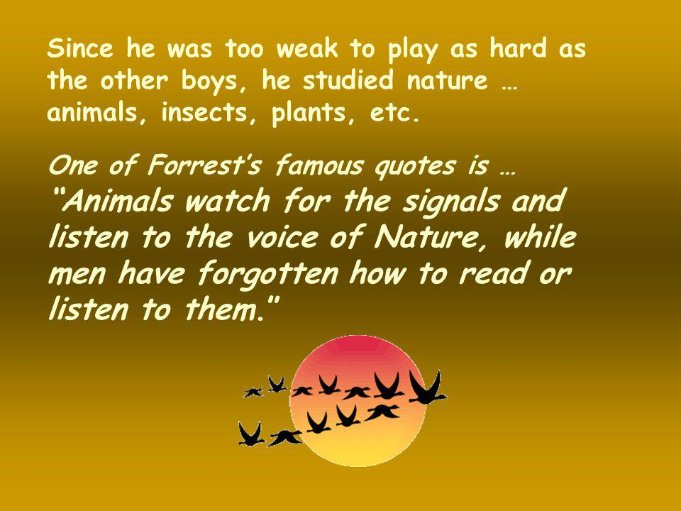 Since he was too weak to play as hard as the other boys, he studied nature … animals, insects, plants, etc.
