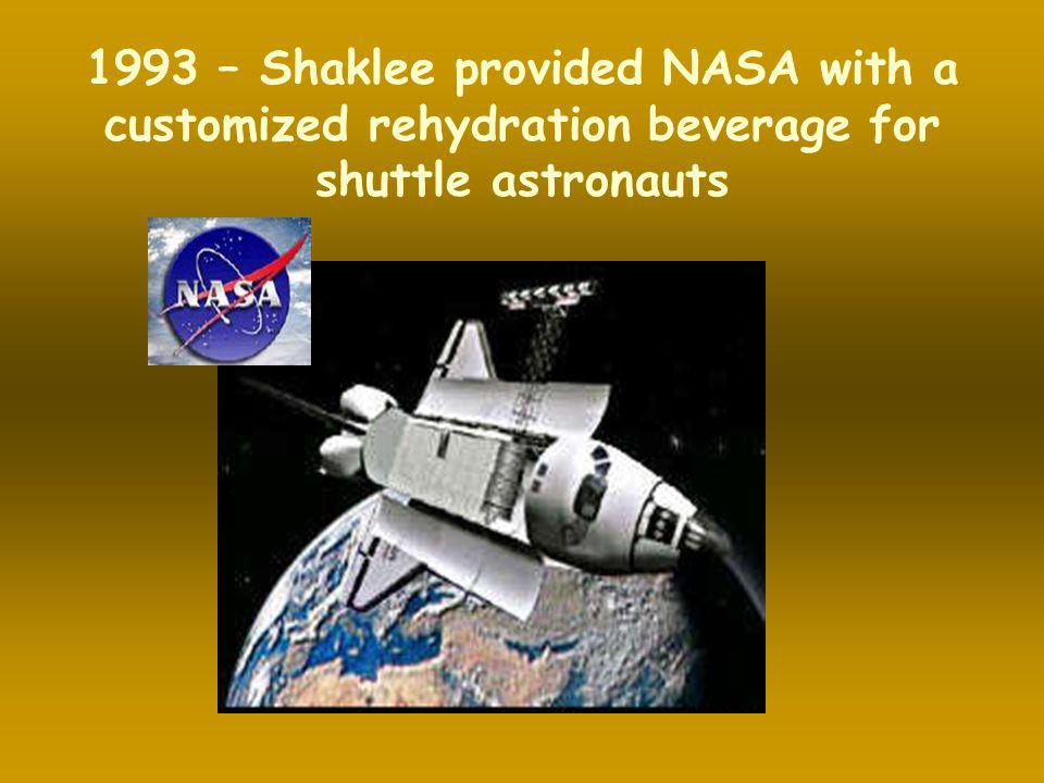 1993 – Shaklee provided NASA with a customized rehydration beverage for shuttle astronauts