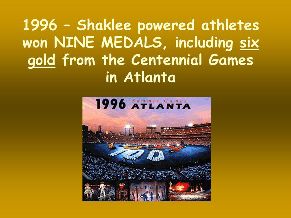 1996 – Shaklee powered athletes won NINE MEDALS, including six gold from the Centennial Games in Atlanta