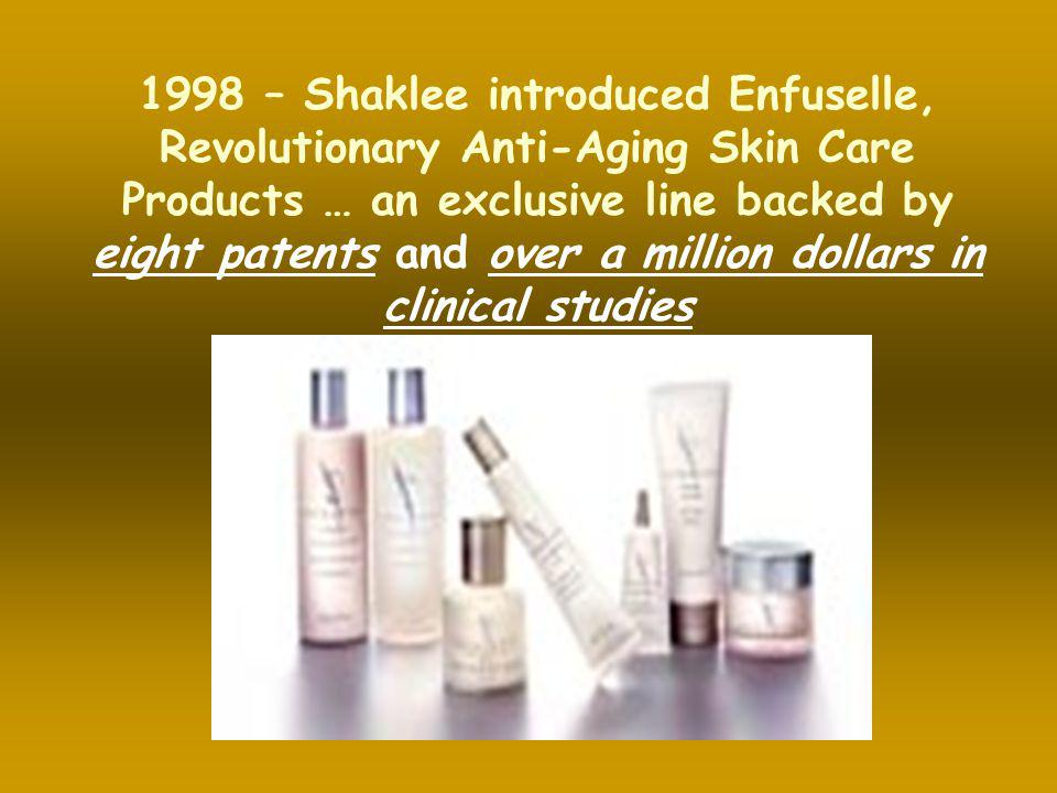 1998 – Shaklee introduced Enfuselle, Revolutionary Anti-Aging Skin Care Products … an exclusive line backed by eight patents and over a million dollars in clinical studies