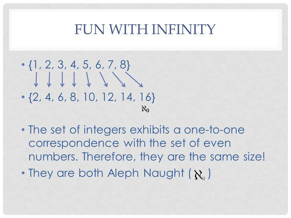 Fun with infinity {1, 2, 3, 4, 5, 6, 7, 8} {2, 4, 6, 8, 10, 12, 14, 16}