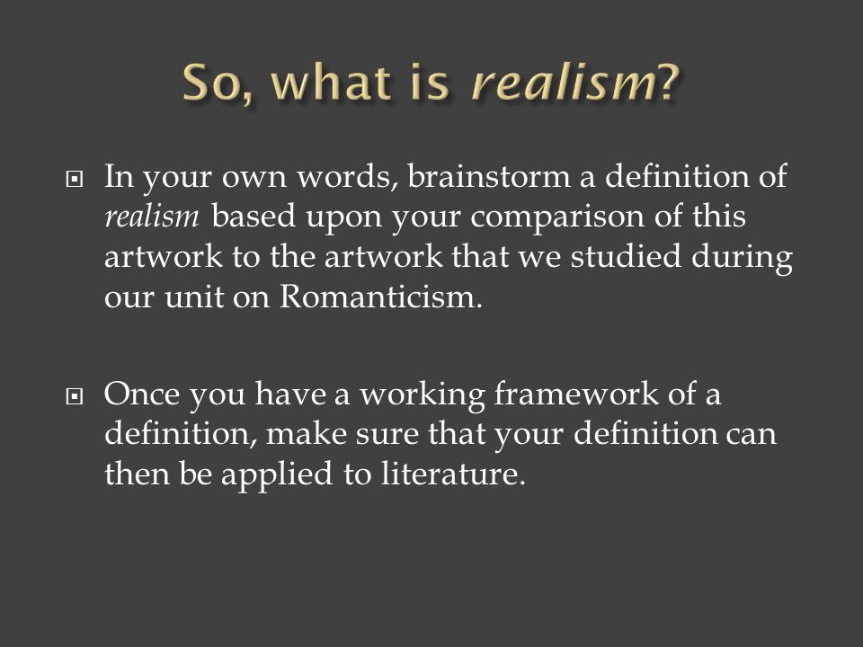 So, what is realism