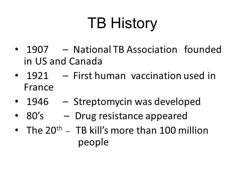 TB History 1907 – National TB Association founded in US and Canada