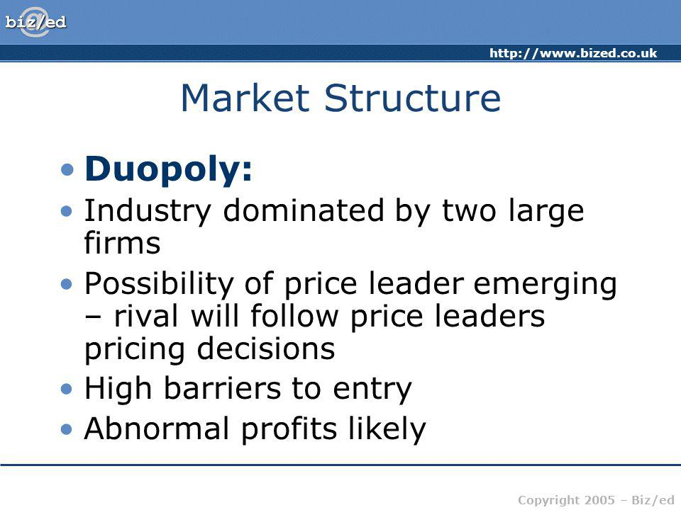 Market Structure Duopoly: Industry dominated by two large firms