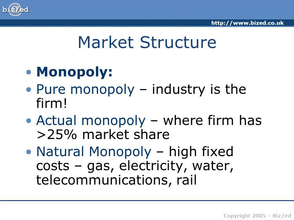 Market Structure Monopoly: Pure monopoly – industry is the firm!
