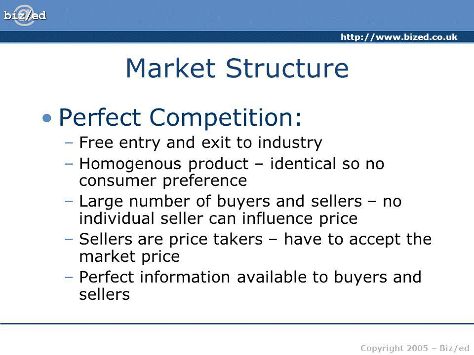 Market Structure Perfect Competition: Free entry and exit to industry
