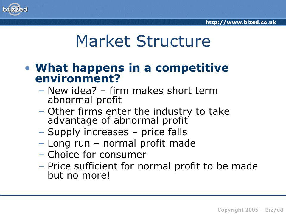 Market Structure What happens in a competitive environment