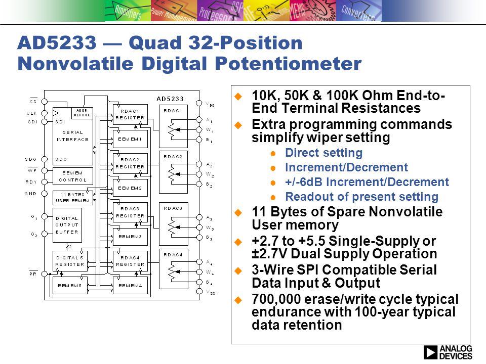 AD5233 — Quad 32-Position Nonvolatile Digital Potentiometer