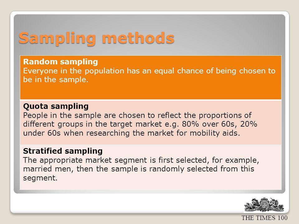 Sampling methods Random sampling