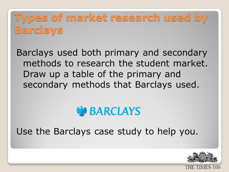 Types of market research used by Barclays