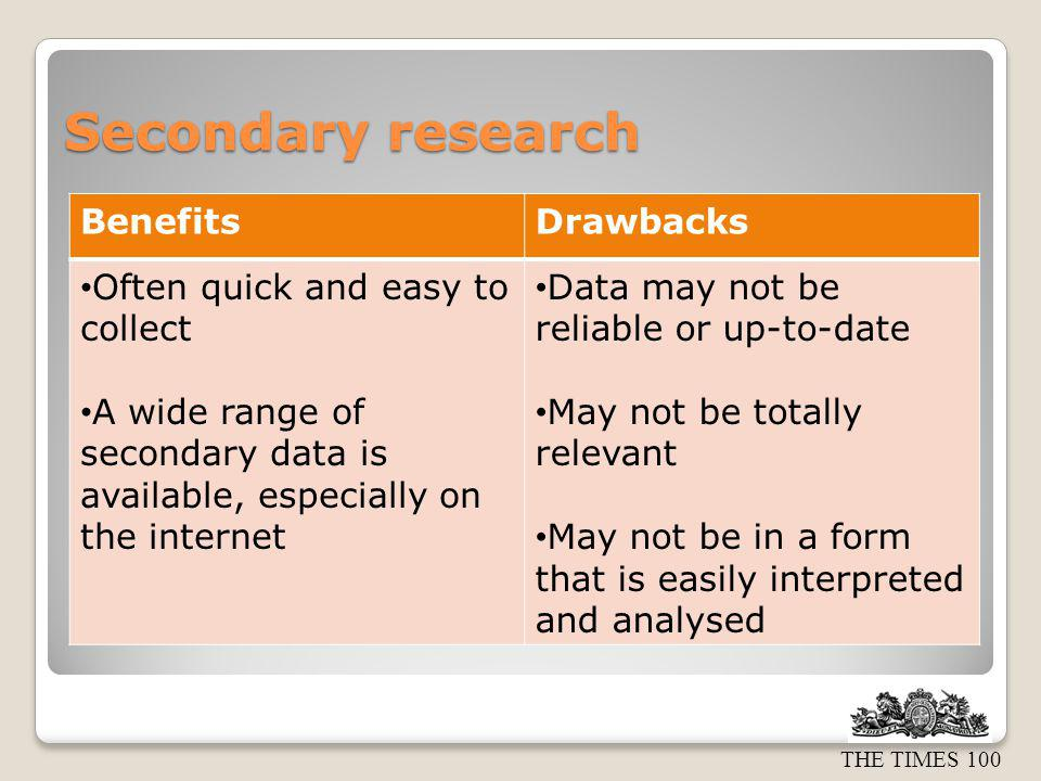 Secondary research Benefits Drawbacks Often quick and easy to collect