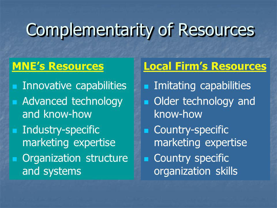 Complementarity of Resources