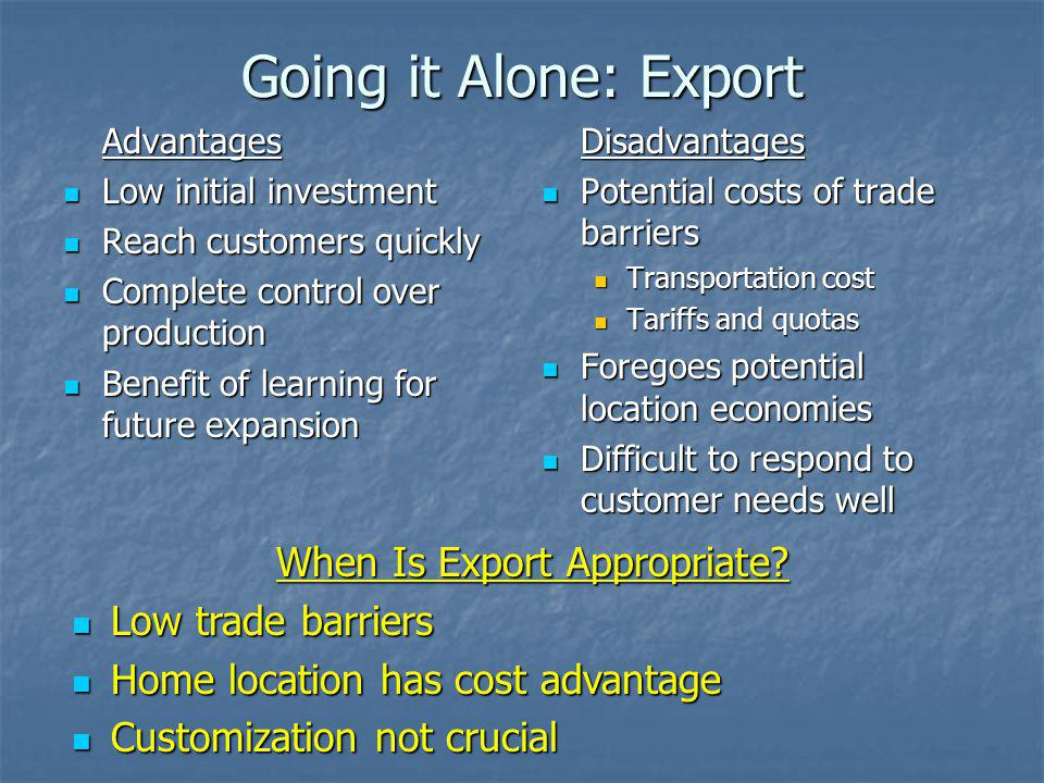 When Is Export Appropriate
