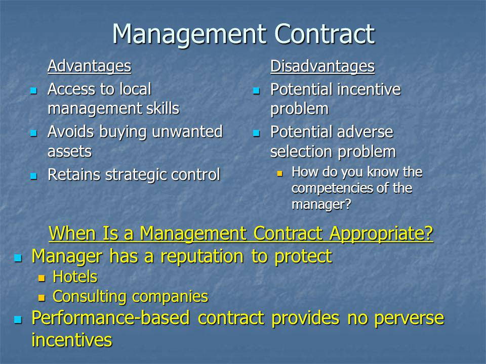 When Is a Management Contract Appropriate