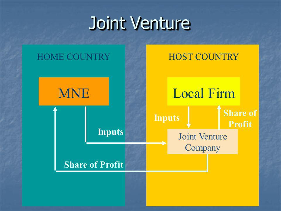 Joint Venture MNE Local Firm HOME COUNTRY HOST COUNTRY Share of Profit