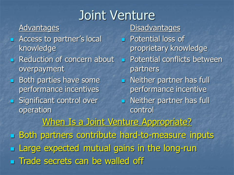 When Is a Joint Venture Appropriate