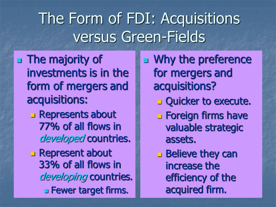 The Form of FDI: Acquisitions versus Green-Fields